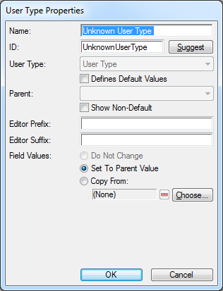 User Type Properties Dialog